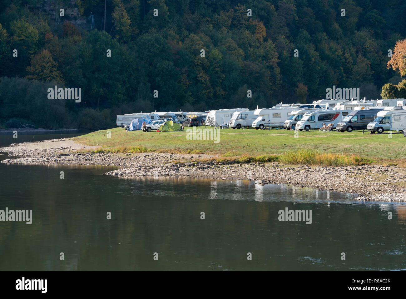 Campsite at Bad Karlshafen, Upper Weser Valley,  Weser Uplands, Weserbergland, Hesse, Germany, Europe - Stock Image