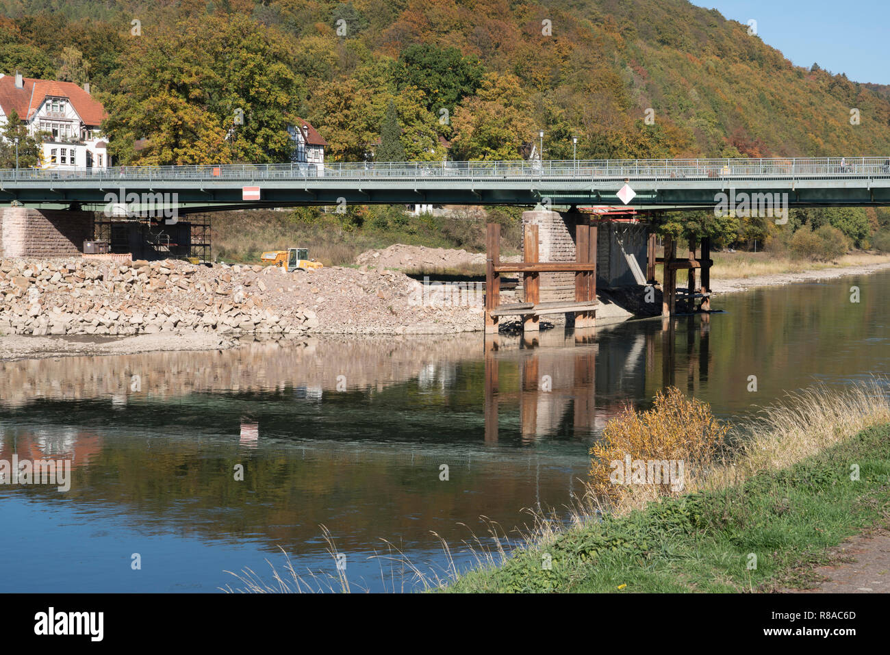 Old river Weser bridge at Bad Karlshafen, Upper Weser Valley,  Weser Uplands, Weserbergland, Hesse, Germany, Europe - Stock Image