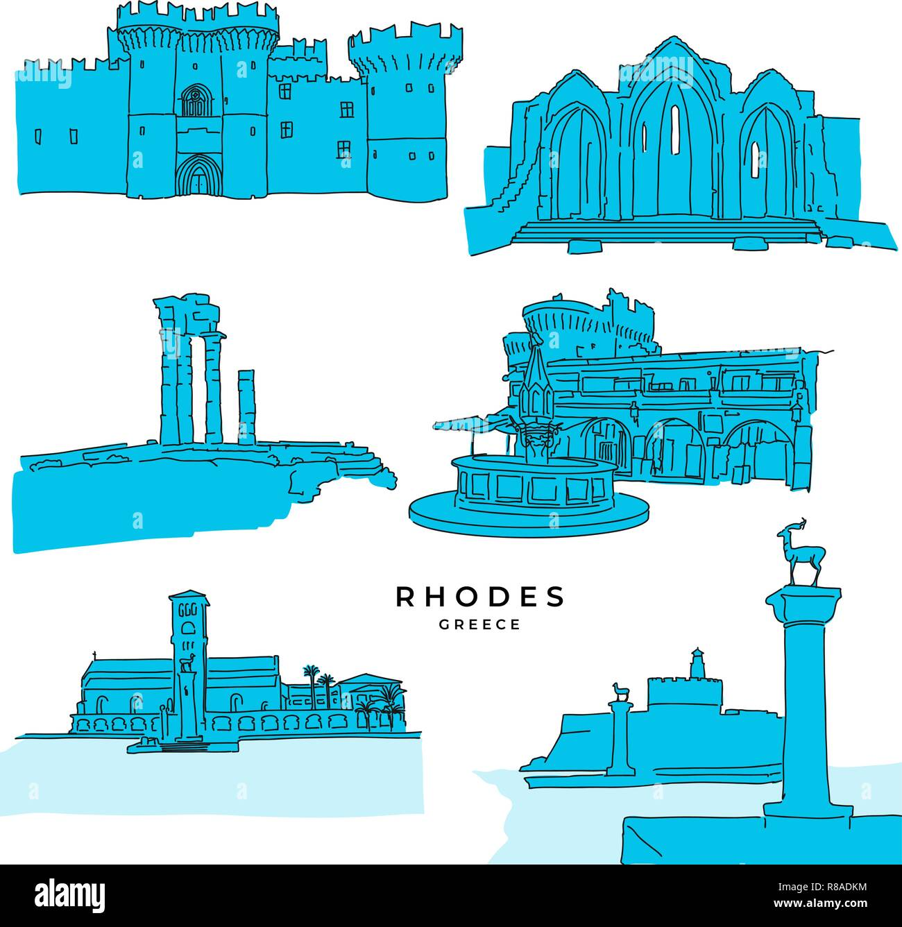 Rhodes Greece landmarks drawings filled. Hand-drawn vector illustration. Famous travel destinations series. - Stock Vector