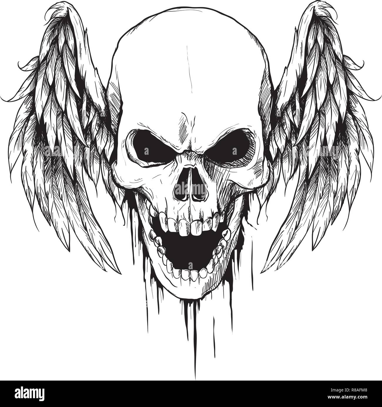 Draw Skull With Wings Vector Illustration Tattoo Style Stock Vector