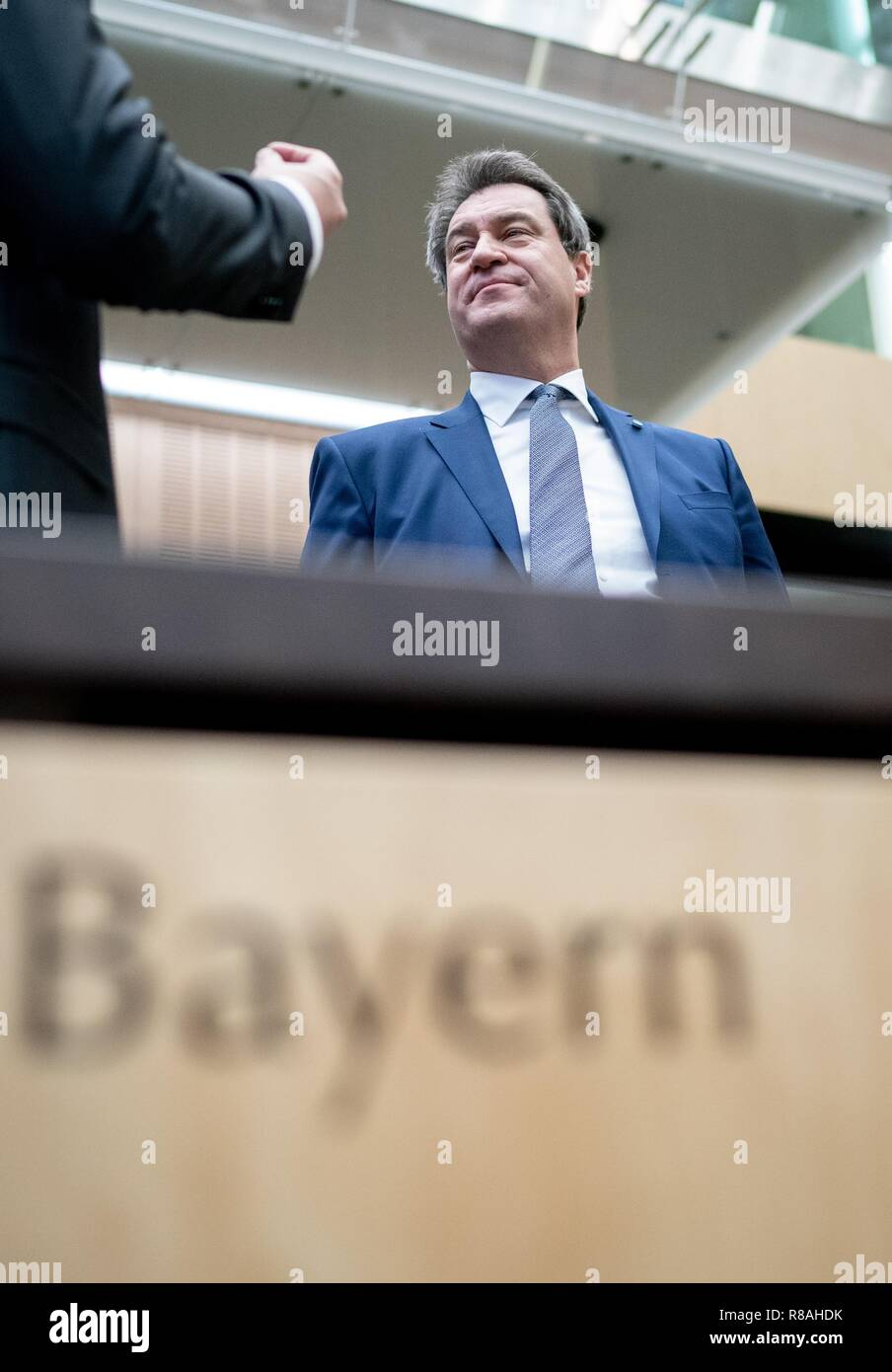 Berlin, Germany. 14th Dec, 2018. Markus Söder (CSU), Prime Minister of Bavaria, attends the meeting of the Bundesrat. In the last session of the year, the regional chamber finally deals with several laws of the grand coalition, including tightening the rent brake, more further training, higher nursing care contributions in 2019, postponement of the ban on anaesthetised piglet castration. Credit: Kay Nietfeld/dpa/Alamy Live News - Stock Image