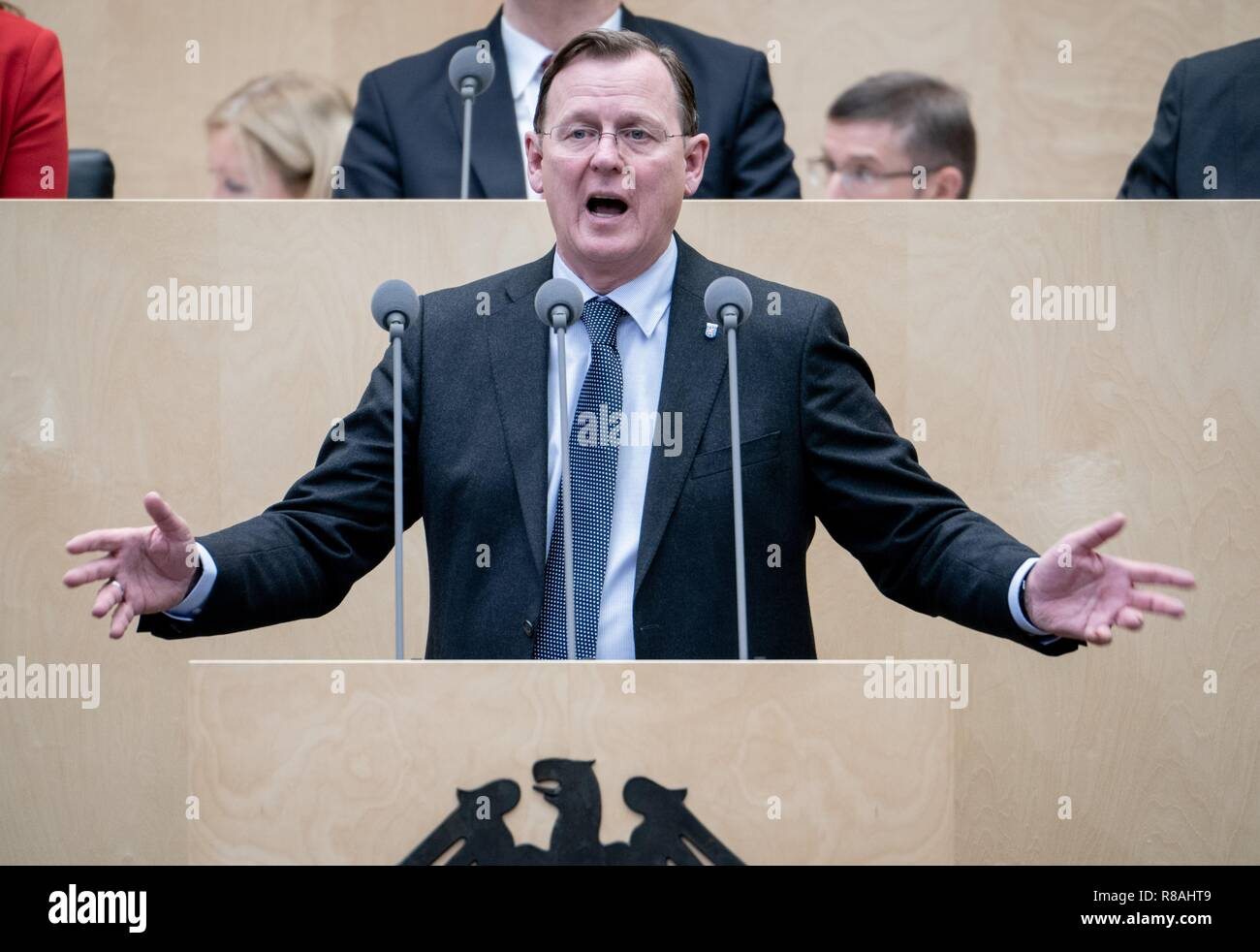 Berlin, Germany. 14th Dec, 2018. Bodo Ramelow (The Left), Prime Minister of Thuringia, speaks during the session of the Federal Council. In the last session of the year, the regional chamber finally deals with several laws of the grand coalition, including tightening the rent brake, more further training, higher nursing care contributions in 2019, postponement of the ban on anaesthetised piglet castration. Credit: Kay Nietfeld/dpa/Alamy Live News - Stock Image