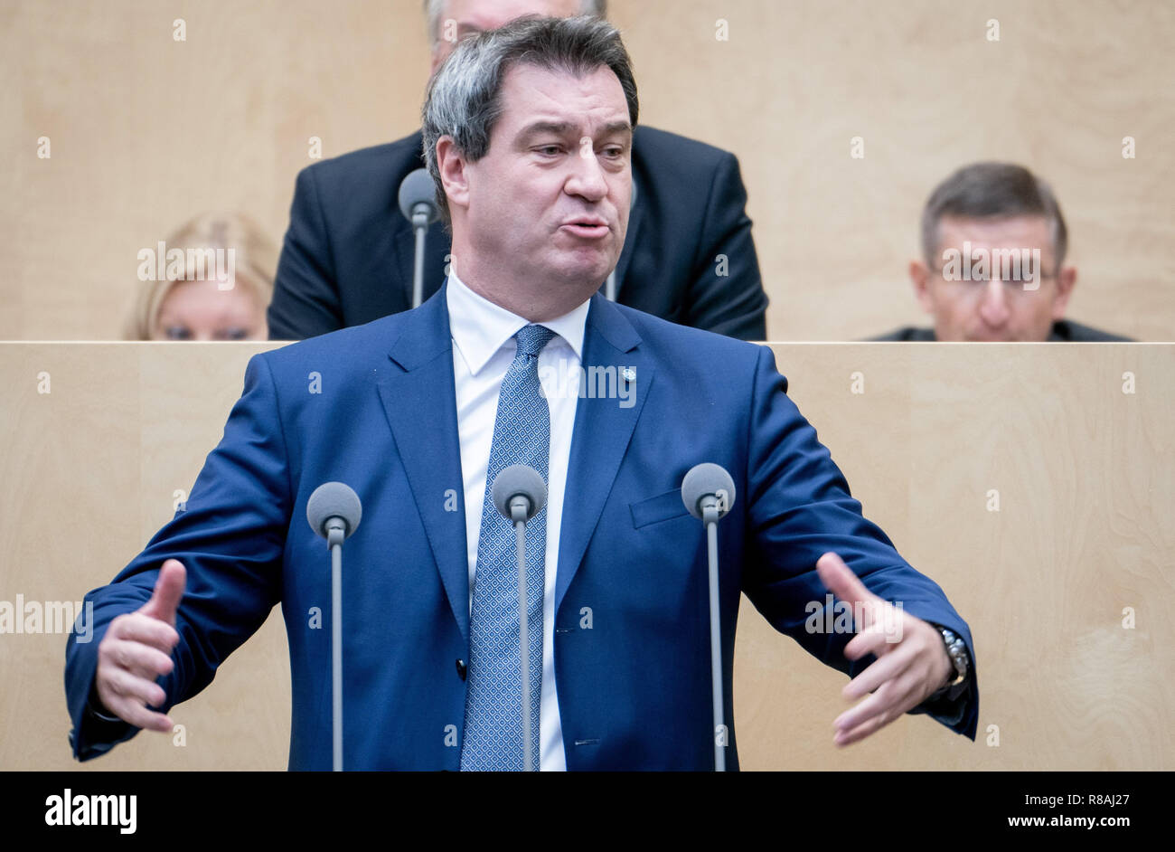 Berlin, Germany. 14th Dec, 2018. Markus Söder (CSU), Prime Minister of Bavaria, speaks during the session of the Bundesrat. In the last session of the year, the regional chamber finally deals with several laws of the grand coalition, including tightening the rent brake, more further training, higher nursing care contributions in 2019, postponement of the ban on anaesthetised piglet castration. Credit: Kay Nietfeld/dpa/Alamy Live News - Stock Image