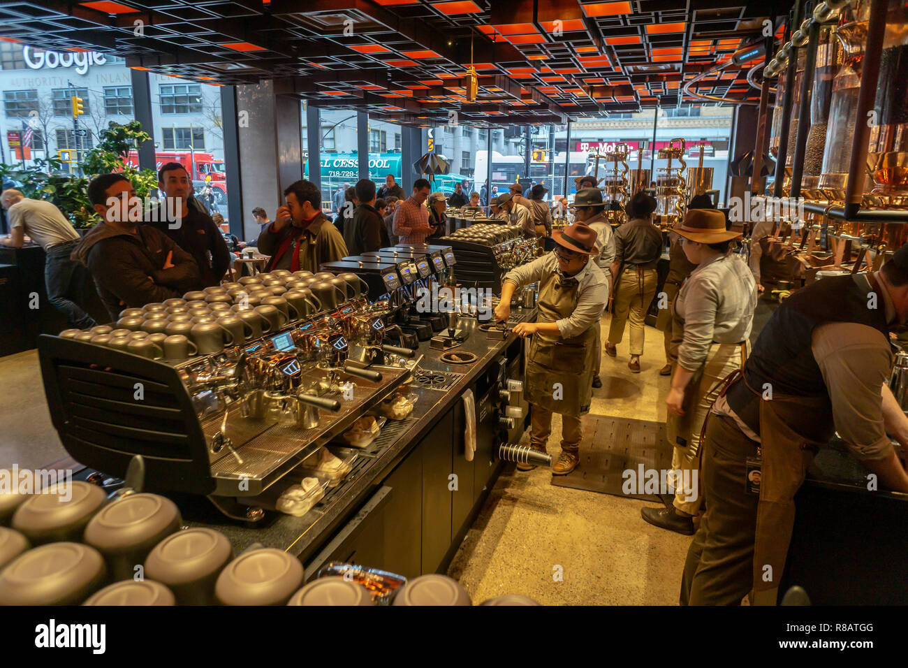 New York, USA  14th December, 2018  Coffee lovers flock to