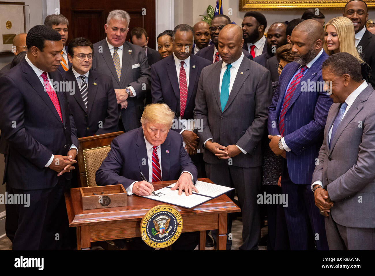 President Donald J. Trump is joined by legislators, Cabinet ...