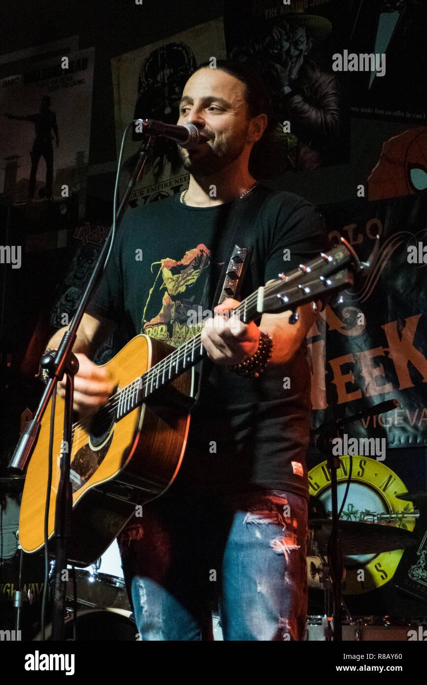 Vigevano, Italy. December 15, 2018. Alberto Bertoli performs live on stage at Pick Week Credit: Luca Quadrio/Alamy Live News Stock Photo