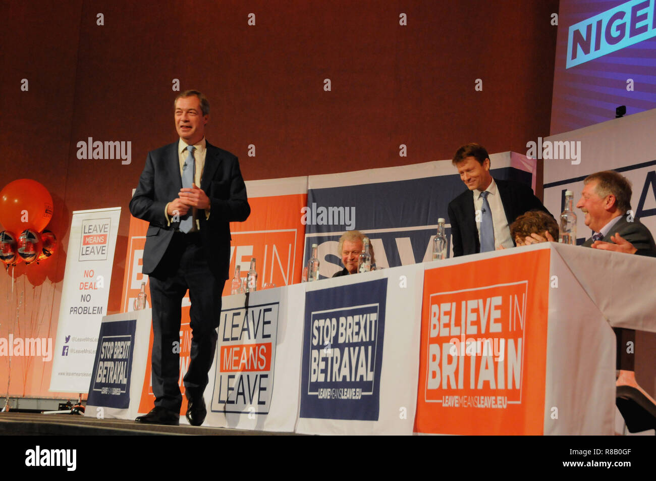 London, UK. 15th December, 2018. Nigel Farage gets ready to address the angry Brexit voters, unhappy with PM Theresa May's poor deal from the EU. Credit: Dario Earl/Alamy Live News Stock Photo