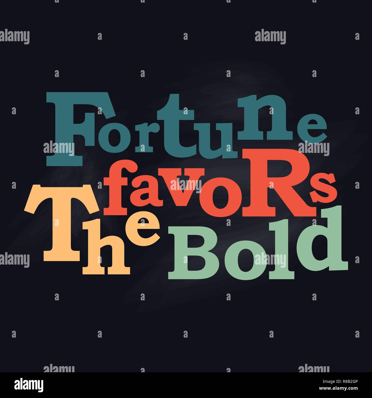 Fortune favors the bold business concept Vector poster design - Stock Vector