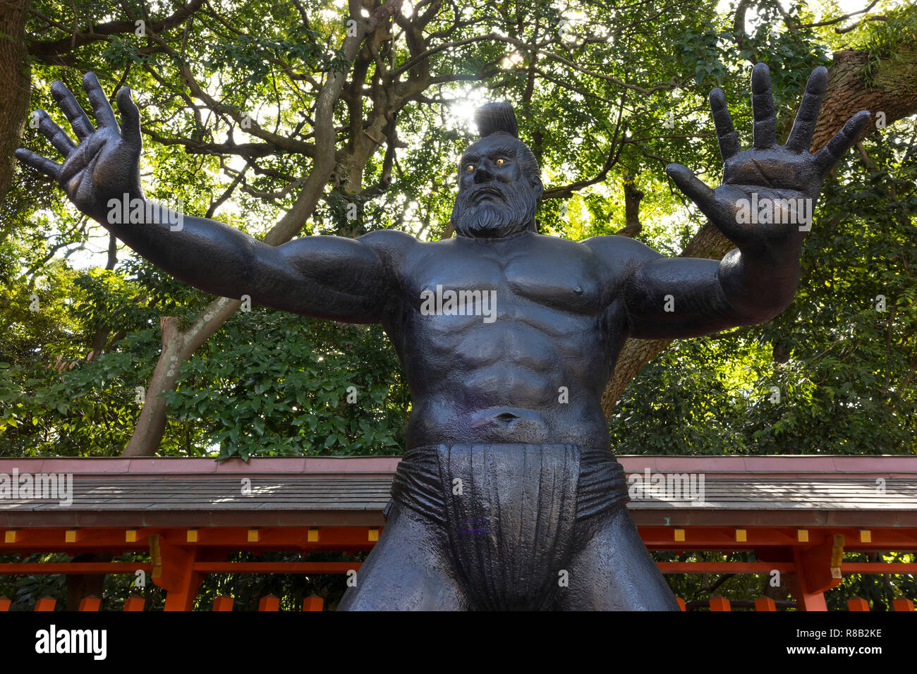 Fukuoka, Japan - October 20, 2018: Statue of a sumo wrestler of ancient times at the Sumiyoshi shrine grounds - Stock Image