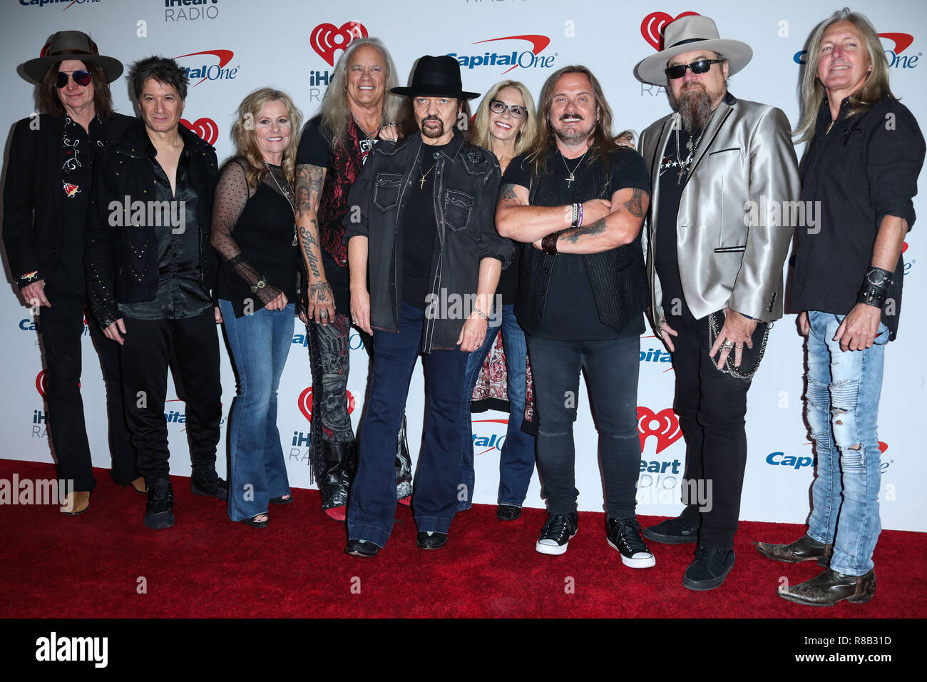 LAS VEGAS, NV, USA - SEPTEMBER 22: Mark Matejka, Rickey Medlocke, Gary Rossington, Keith Christopher, Lynyrd Skynyrd in the press room during the 2018 iHeartRadio Music Festival - Night 2 held at T-Mobile Arena on September 22, 2018 in Las Vegas, Nevada, United States. (Photo by Xavier Collin/Image Press Agency) Stock Photo