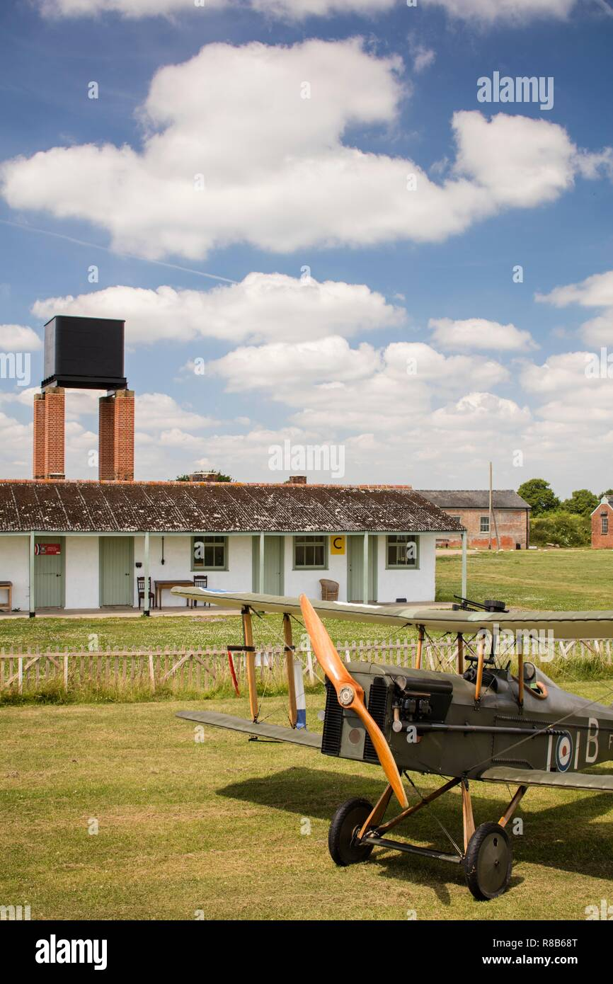 Stow Maries Aerodrome, Maldon, Essex, 2017. General view of the airfield site from the south-east, with a replica World War One aircraft in the foregr - Stock Image