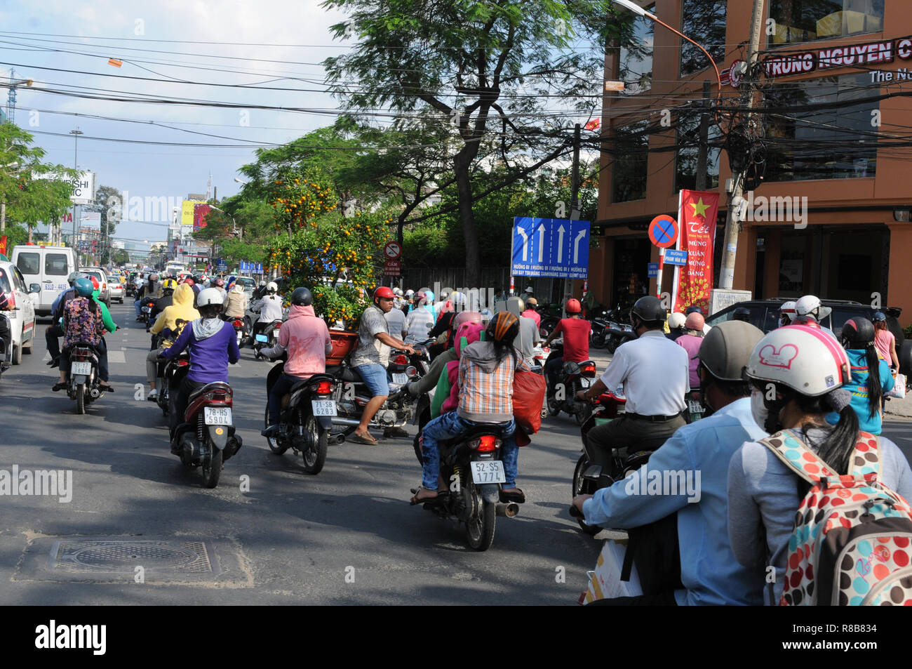 Vietnam: Tons of CO2-emmissions every day are polluting the air in Saigon/Ho Chi Ming City Stock Photo