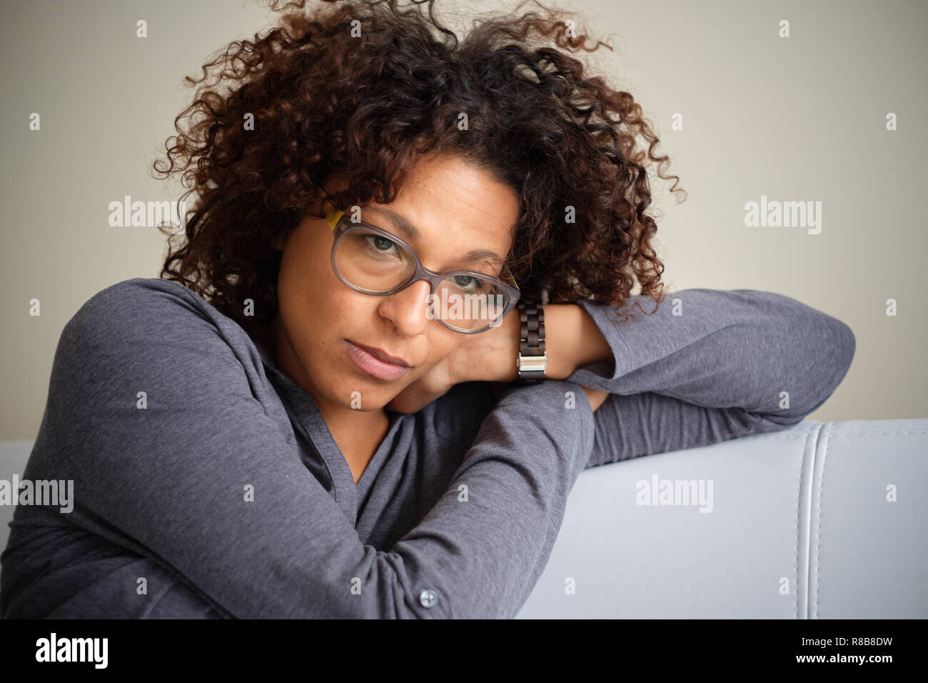Black woman can't get over relationship breakup - Stock Image