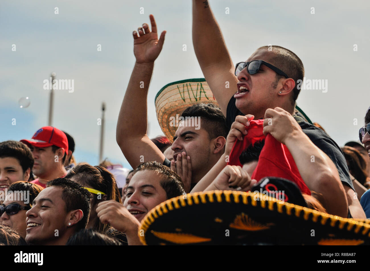 Philadelphia Pennsylvania - September 15,2013: Group of Mexican men enjoying the festivities at the Mexican Independence Day celebration at Penns Land Stock Photo