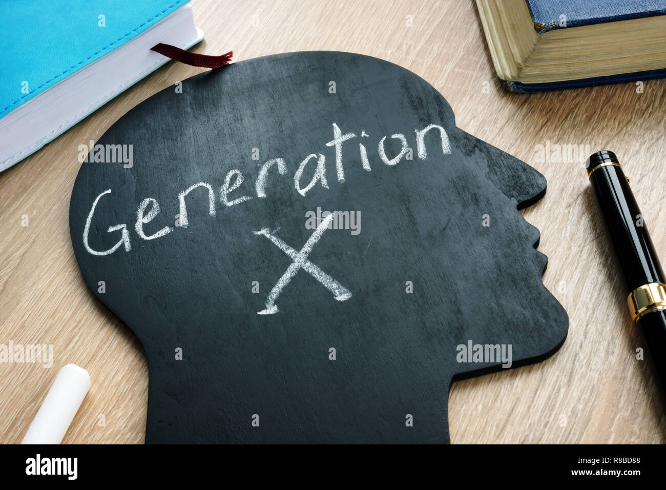 Generation x written on the silhouette of head. - Stock Image