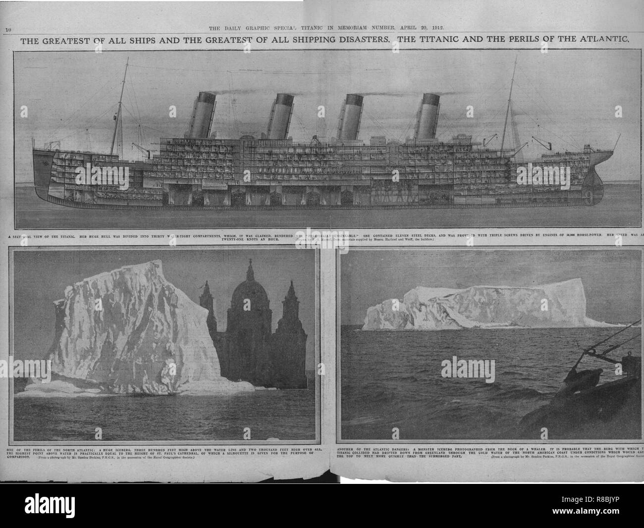 Sectional Diagram Of The Titanic And Icebergs April 20 1912
