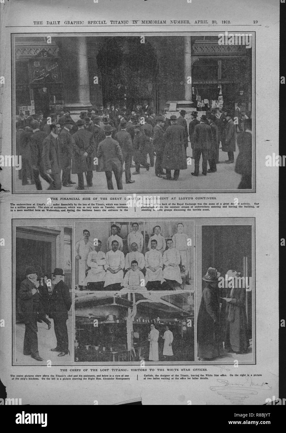 Crowds outside Lloyd's of London, chefs on board, and visitors at the White Star offices, April 20, 1912. 'The Financial Side of the Great Disaster, Excitement at Lloyd's Continues': crowds outside Lloyd's insurance offices in London as news of the disaster unfolds. 'The Chefs of the Lost Titanic': catering staff on the ship. 'Visitors to the White Star Offices': relatives and friends wait anxiously for information on passengers. The White Star Line ship RMS 'Titanic' struck an iceberg in thick fog off Newfoundland on 14 April 1912. She was the largest and most luxurious ocean liner of her tim - Stock Image