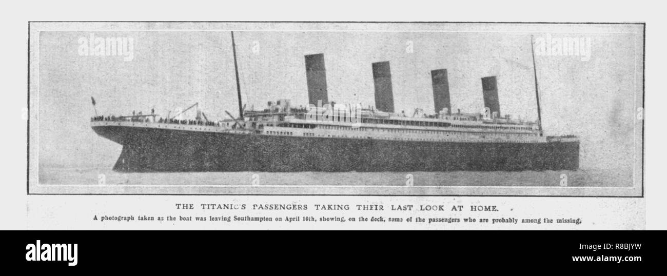'The Titanic's Passengers Taking Their Last Look at Home', (April 20), 1912. 'A photograph taken as the boat was leaving Southampton on April 10th, showing, on the deck, some of the passengers who are probably among the missing'. The White Star Line ship RMS 'Titanic' struck an iceberg in thick fog off Newfoundland on 14 April 1912. She was the largest and most luxurious ocean liner of her time, and thought to be unsinkable. In the collision, five of her watertight compartments were compromised and she sank. Out of the 2228 people on board, only 705 survived. A major cause of the loss of life  - Stock Image