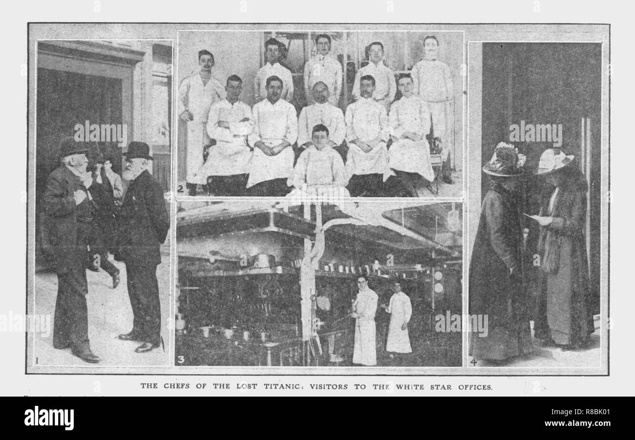 'The Chefs of the Lost Titanic', and 'Visitors to the White Star Offices', April 20, 1912. 'The Chefs of the Lost Titanic': catering staff on the ship. 'Visitors to the White Star Offices': relatives and friends wait anxiously for information on passengers. The White Star Line ship RMS 'Titanic' struck an iceberg in thick fog off Newfoundland on 14 April 1912. She was the largest and most luxurious ocean liner of her time, and thought to be unsinkable. In the collision, five of her watertight compartments were compromised and she sank. Out of the 2228 people on board, only 705 survived. A majo - Stock Image