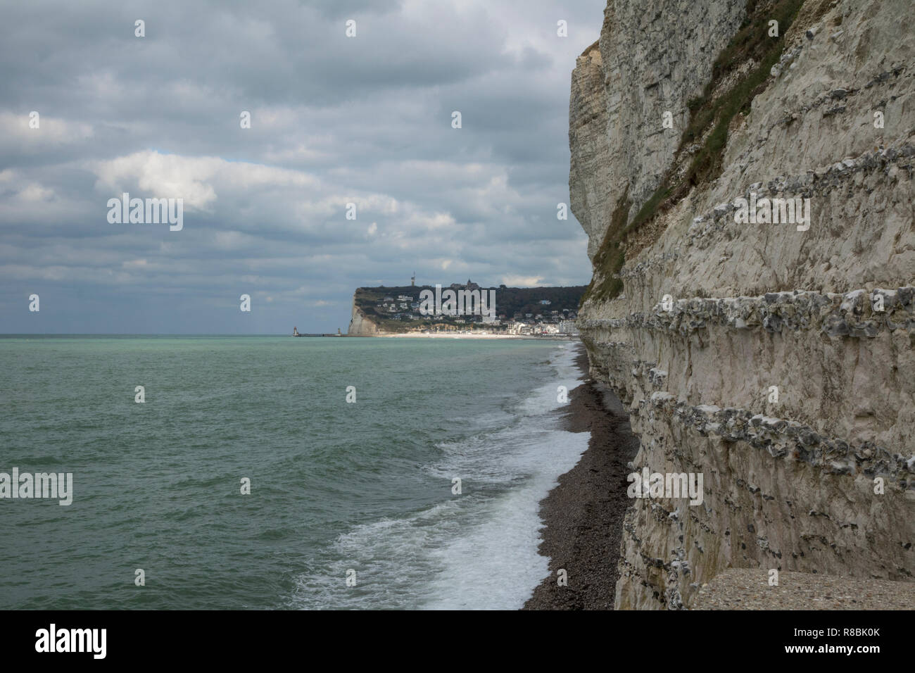 Opale Coast, Picardy, France, layers of flint in chalk cliffs, cretaceous, sedimentary rock Stock Photo
