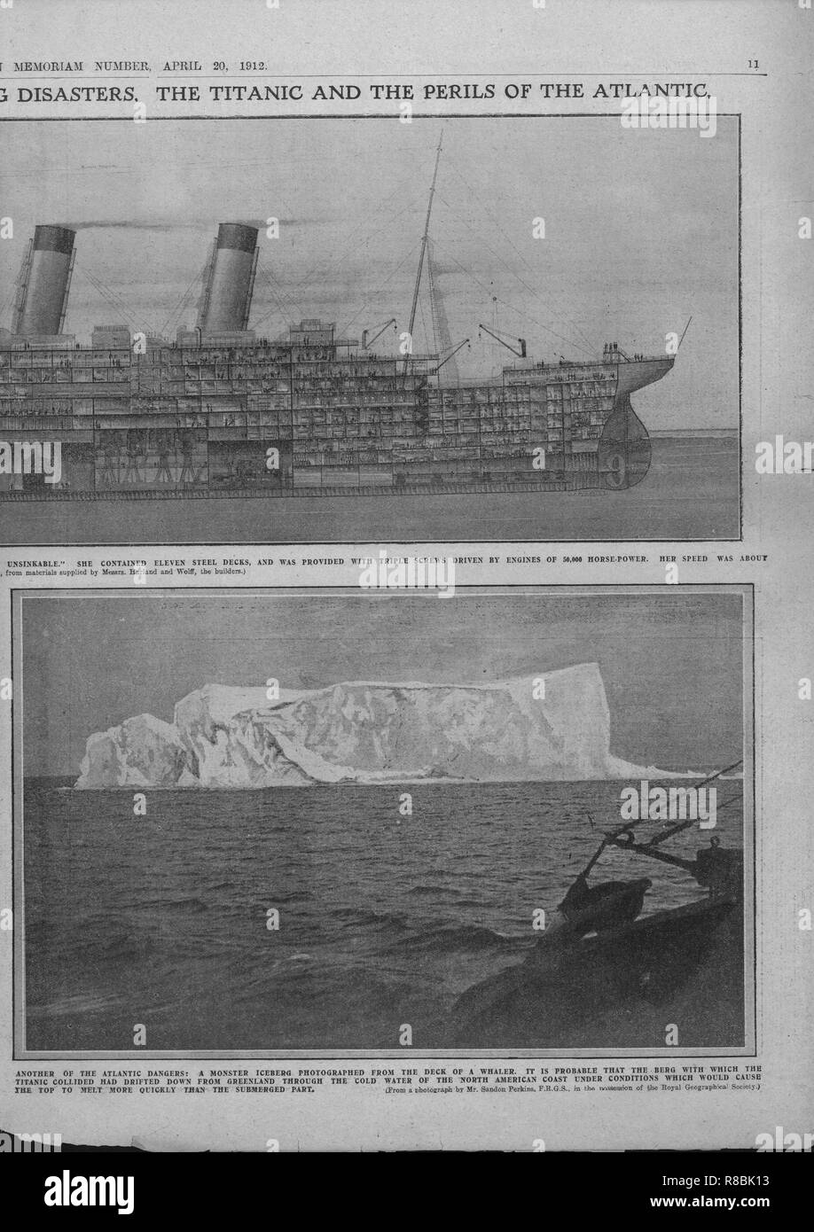 Sectional Diagram Of The Titanic And Iceberg April 20 1912