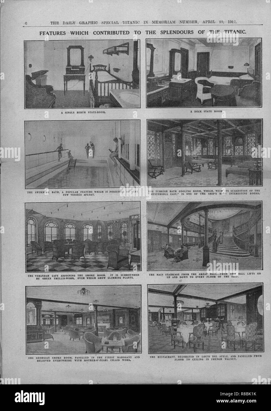 'Features which Contributed to the Splendours of the Titanic', April 20, 1912. A single-berth state room, a deck state room, the swimming pool, the Turkish Bath Cooling Room, the Verandah Cafe, the main staircase, the Georgian Smoke Room and the restaurant. The luxurious interior decoration included French walnut panelling, mother-of-pearl inlay and climbing plants. The White Star Line ship RMS 'Titanic' struck an iceberg in thick fog off Newfoundland on 14 April 1912. She was the largest and most luxurious ocean liner of her time, and thought to be unsinkable. In the collision, five of her wa - Stock Image