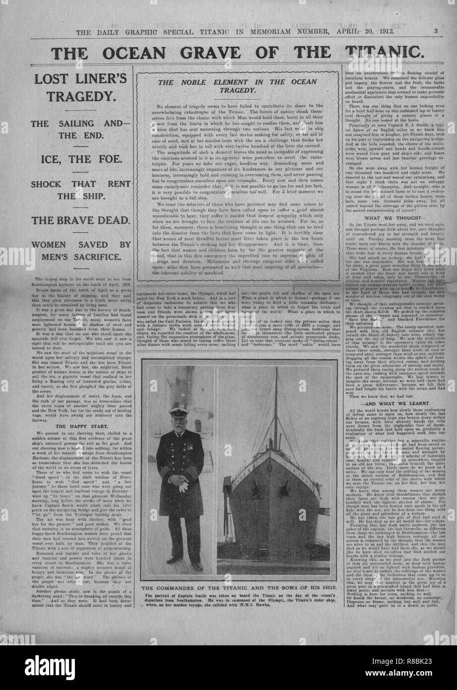 'The Ocean Grave of the Titanic', and photograph of Captain Edward Smith, April 20, 1912. Article entitled 'The Ocean Grave of the Titanic', and photograph of Smith: 'The Commander of the Titanic and the Bows of his Ship'. Captain Edward Smith (1850-1912) went down with his ship, and consequently became an icon of British 'stiff upper lip' spirit, due to his stoicism and fortitude in the face of adversity. The White Star Line ship RMS 'Titanic' struck an iceberg in thick fog off Newfoundland on 14 April 1912. She was the largest and most luxurious ocean liner of her time, and thought to be uns - Stock Image