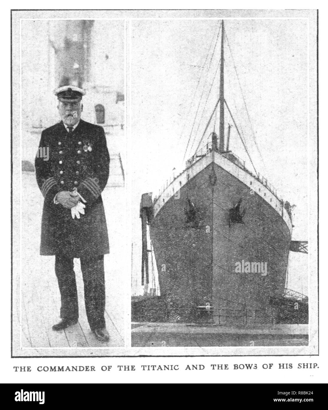 'The Commander of the Titanic and the Bows of his Ship', (April 20), 1912. Captain Edward Smith (1850-1912) went down with his ship, and consequently became an icon of British 'stiff upper lip' spirit, due to his stoicism and fortitude in the face of adversity. The White Star Line ship RMS 'Titanic' struck an iceberg in thick fog off Newfoundland on 14 April 1912. She was the largest and most luxurious ocean liner of her time, and thought to be unsinkable. In the collision, five of her watertight compartments were compromised and she sank. Out of the 2228 people on board, only 705 survived. A  - Stock Image