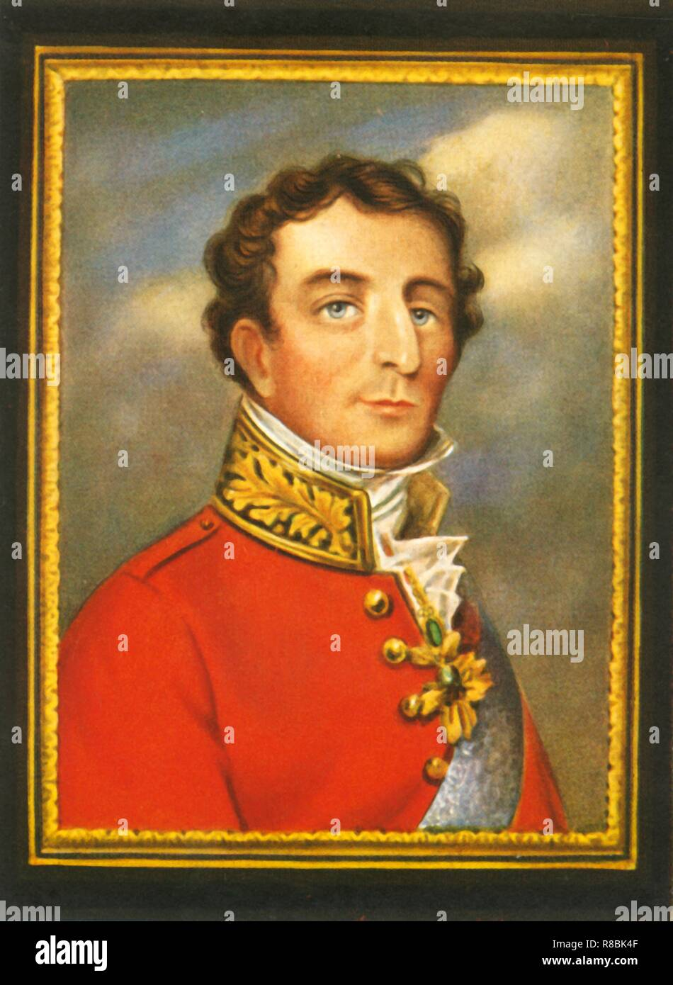 'Sir Arthur Wellesey Duke of Wellington', (1933). Portrait of British/Irish soldier and statesman Arthur Wellesley, 1st Duke of Wellington (1769-1852). Wellington commanded the victorious British forces in the Peninsular War, for which he was promoted to Field Marshal and made a duke. In 1815 he inflicted the final defeat on Napoleon at Waterloo. Christened the 'Iron Duke', Wellington served as Prime Minister in 1828-1830, but his intransigent opposition to parliamentary reform led to him being compelled to resign. His death was marked by a grand funeral and the honour of a burial in St Paul's - Stock Image