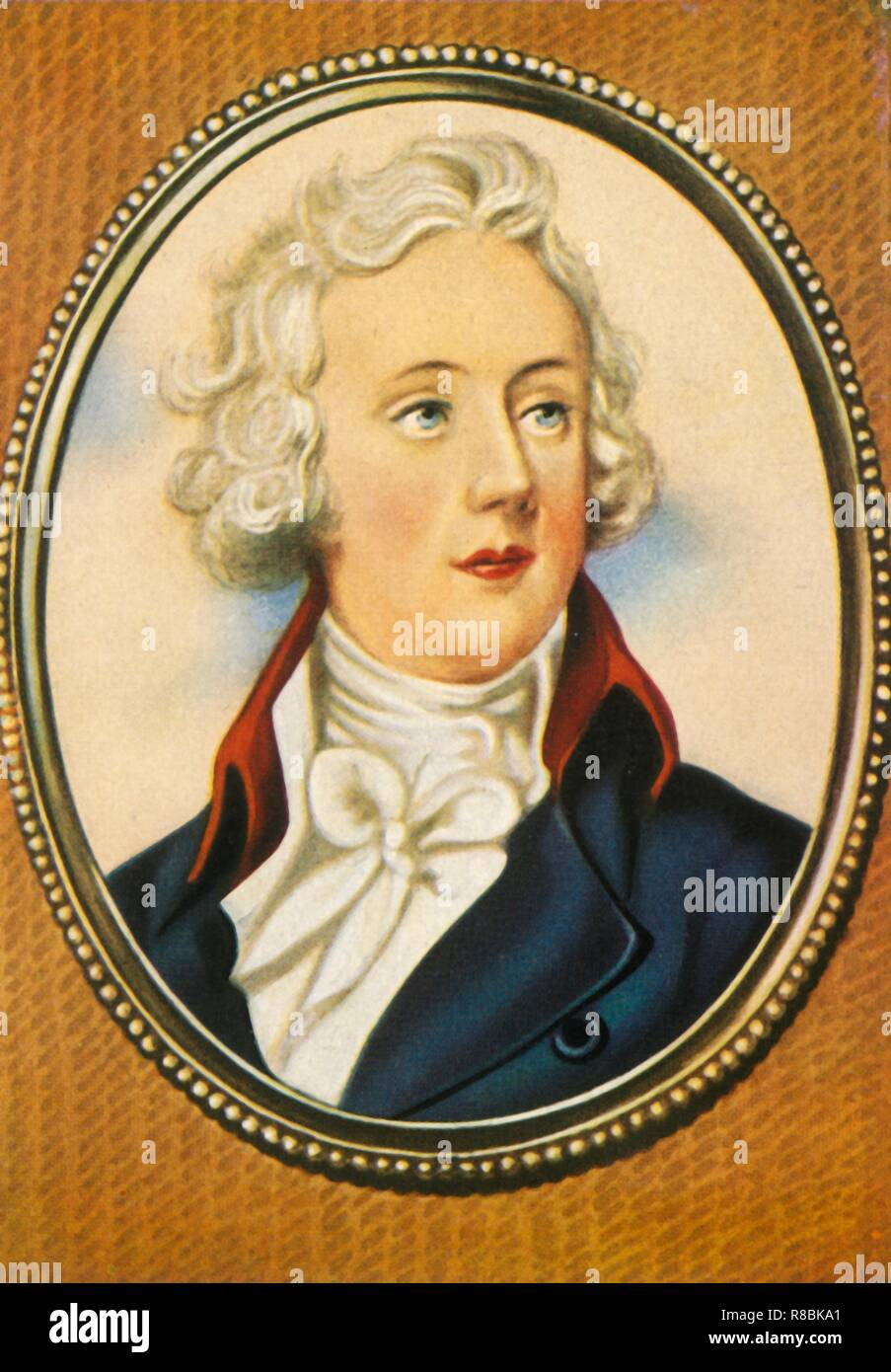"'William Pitt', (1933). Portrait of William Pitt the Younger, British politician and Prime Minister (1759-1806). Pitt became Prime Minister at the age of 24, making him the youngest to hold the office in British history. He was also one of the longest serving Prime Ministers, holding office from 1783-1801 and then again from 1804-1806. After a miniature by Horace Hone. From ""Gestalten Der Weltgeschichte"", a book of cigarette-card portrait miniatures of figures in world history from the last four hundred years. [Germany, 1933] - Stock Image"