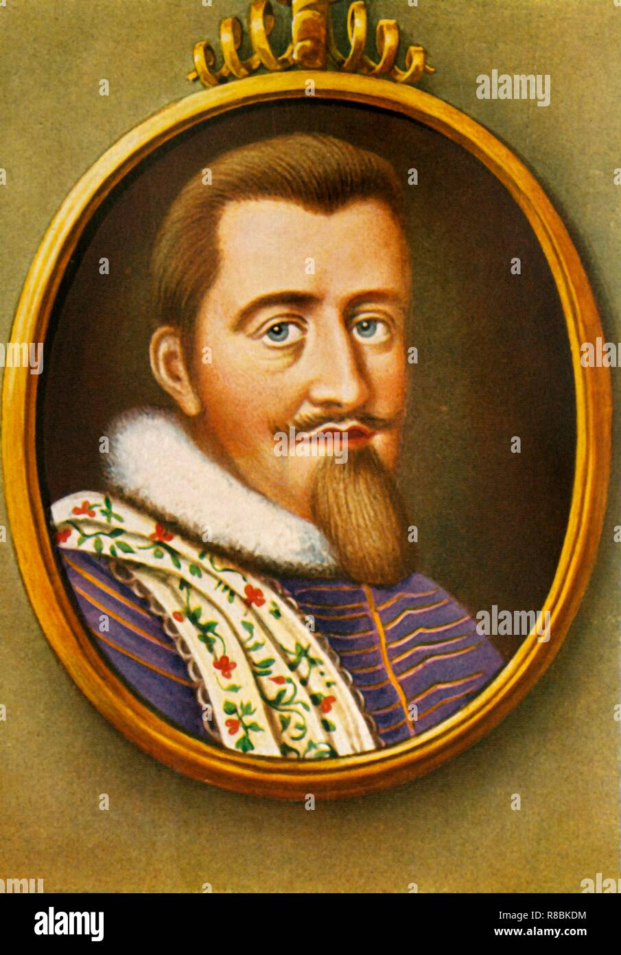 """'Christian IV', (1933). Portrait of Christian IV of Denmark (1577-1648), king of Denmark-Norway, Duke of Holstein and Schleswig. His 59-year reign is the longest of Danish monarchs, and of Scandinavian monarchies. After a miniature by Eric Utterhielm. From """"Gestalten Der Weltgeschichte"""", a book of cigarette-card portrait miniatures of figures in world history from the last four hundred years. [Germany, 1933] - Stock Image"""