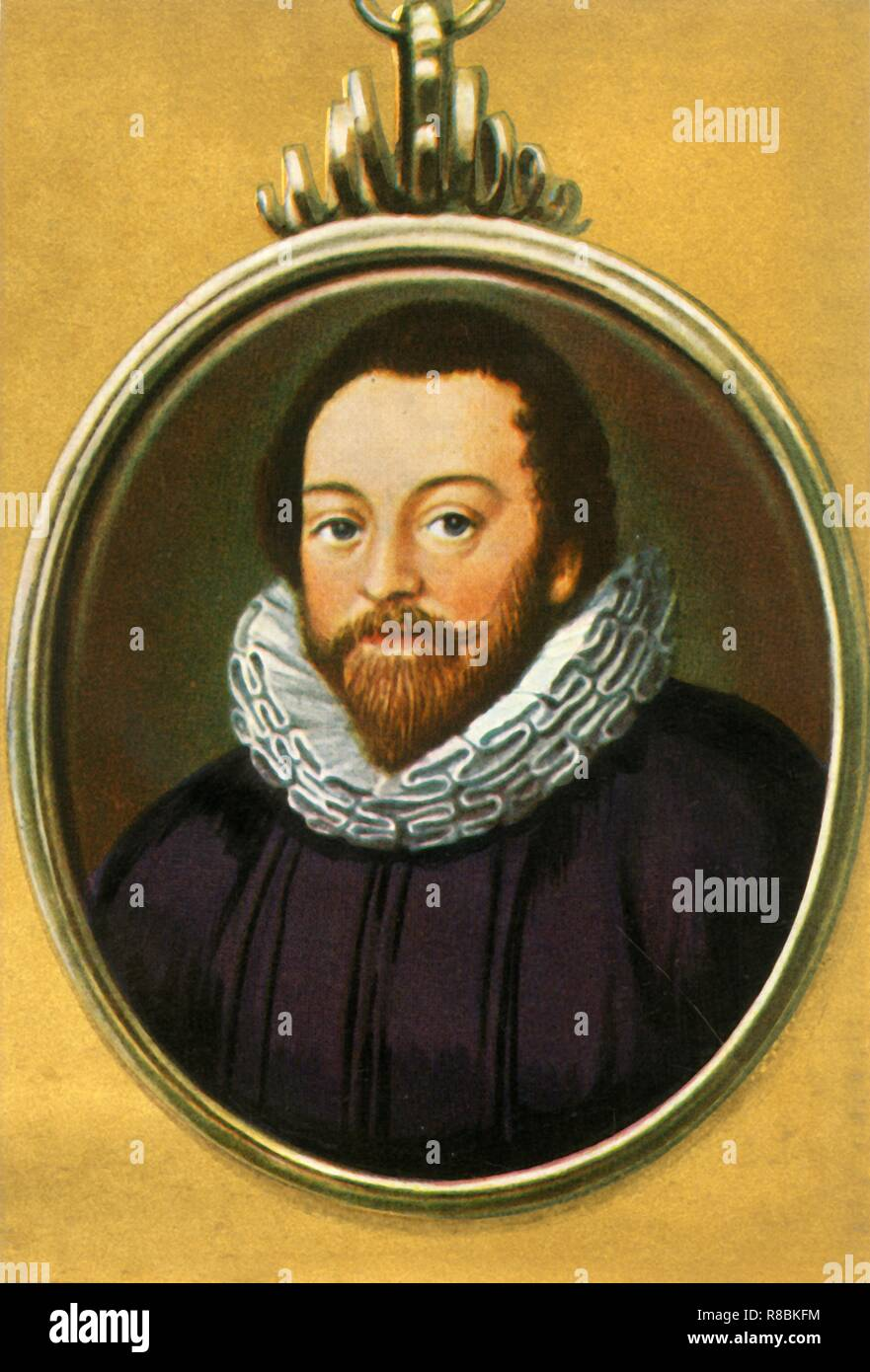 """'Francis Drake', (1933). Portrait of English navigator, privateer and adventurer Francis Drake (1540-1596). Drake was the most renowned seaman of the Elizabethan Age. He circumnavigated the globe (1577-1580), commanded the attack on the Spanish fleet in Cadiz Harbour in 1587 (the 'singeing of the King of Spain's beard') and played an important role in defeating the Spanish Armada the following year. From """"Gestalten Der Weltgeschichte"""", a book of cigarette-card portrait miniatures of figures in world history from the last four hundred years. [Germany, 1933] - Stock Image"""