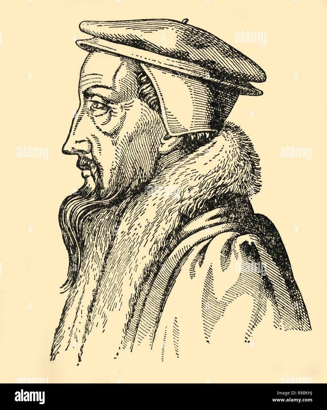 "'Johannes Calvin', (1933). Portrait of French theologian John Calvin (1509-1564). Calvin settled in Geneva and became a leading figure in the Protestant Reformation. He gave his name to the strict form of Protestantism, Calvinism. From ""Gestalten Der Weltgeschichte"", a book of cigarette-card portrait miniatures of figures in world history from the last four hundred years. [Germany, 1933] - Stock Image"