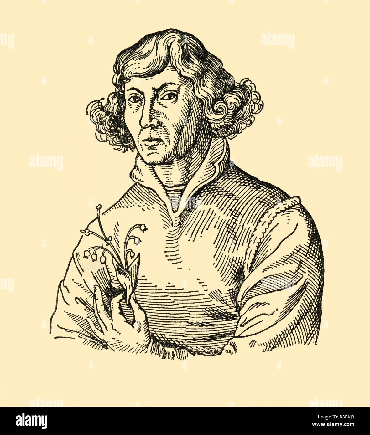 """'Nikolaus Kopernikus', (1933). Portrait of mathematician and astronomer Nicolaus Copernicus (1473-1543) whose revolutionary model of the universe was a major event in the history of science. His heliocentric hypothesis recognised that the Sun, rather than the Earth, is at the centre of our universe. From """"Gestalten Der Weltgeschichte"""", a book of cigarette-card portrait miniatures of figures in world history from the last four hundred years. [Germany, 1933] - Stock Image"""