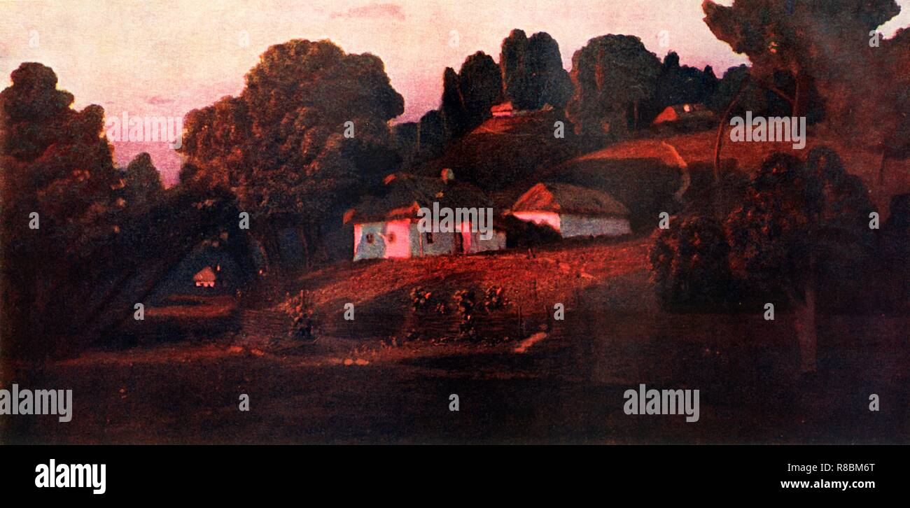 """'An Evening in the Ukraine', 1901, (1939). Landscape with trees and houses bathed in rosy evening light. In his early twenties, Arkhip Kuindzhi (1842-1910) worked as a retoucher in a photography studio and was later co-partner of the Peredvizhniki artists' co-operative. He lectured at the St Petersburg Academy of Arts but was dismissed for his support of students' protests. Painting in the collection of The State Russian Museum, St Petersburg, Russia. From """"The Russian State Museum"""". [State Art Publishers, Moscow and Leningrad, 1939] - Stock Image"""