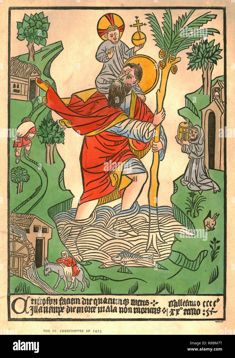 'The St. Christopher of 1423'. The saint carries the Christ-child across a river, using a staff sprouting palm-fronds. The St Christopher Woodcut is the only surviving example of the first piece of European printing bearing a date. Print after a hand-coloured woodcut in the collection of the John Rylands Library, Manchester. - Stock Image
