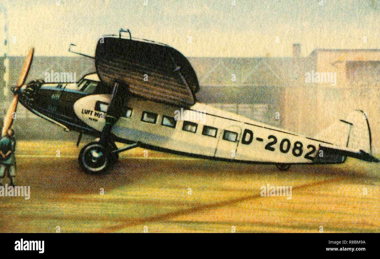 """Focke-Wulf A 38 Möwe plane, 1932. The Möwe ('Gull') airliner was produced in Germany during the early 1930s. From """"Die Eroberung Der Luft"""", (The Conquest of the Air), cigarette card album produced by the Garbáty cigarette factory, 1932. Eugene and Moritz Garbáty, who were Jewish, were driven out of business by the Nazis in the late 1930s, and forced to sell their factory which lay empty for over 70 years. [Garbaty Cigarettenfabrik, Berlin-Pankow, 1932] - Stock Image"""