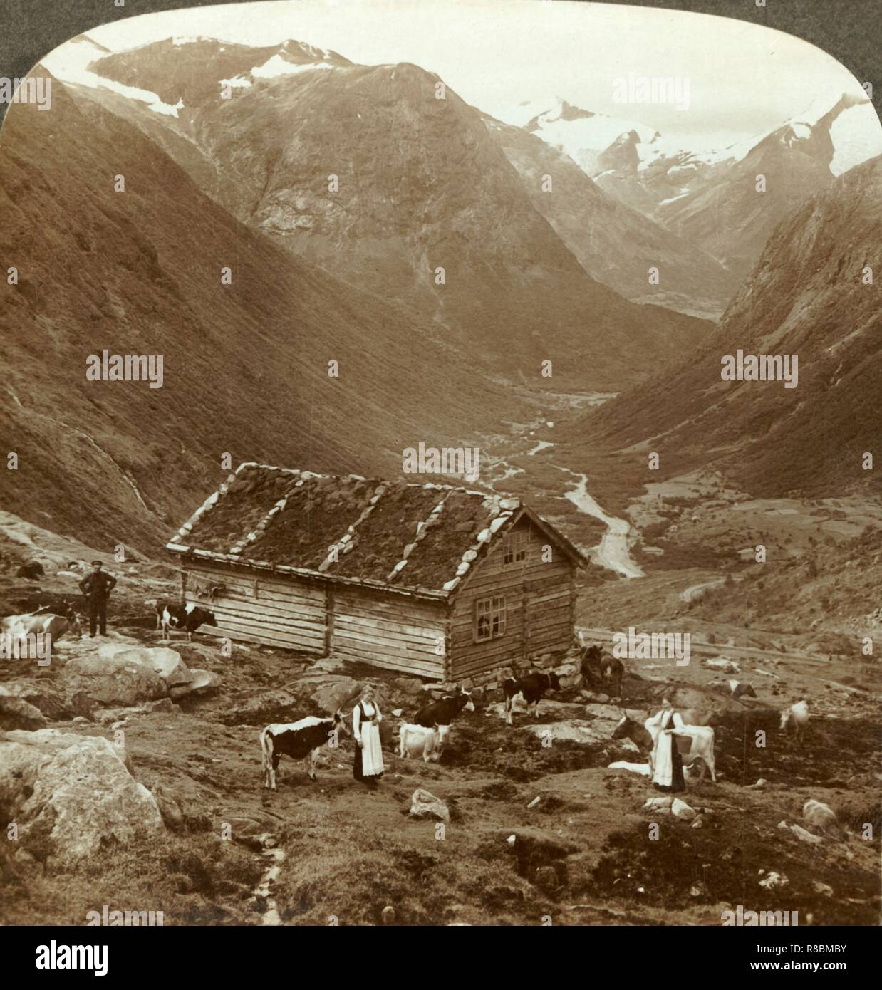 """'From the mountain inn at Vidde saeter down the Vidde valley - Mt. Skaala in right distance', c1905. From """"The Underwood Travel Library - Norway"""". [Underwood & Underwood, London ] - Stock Image"""
