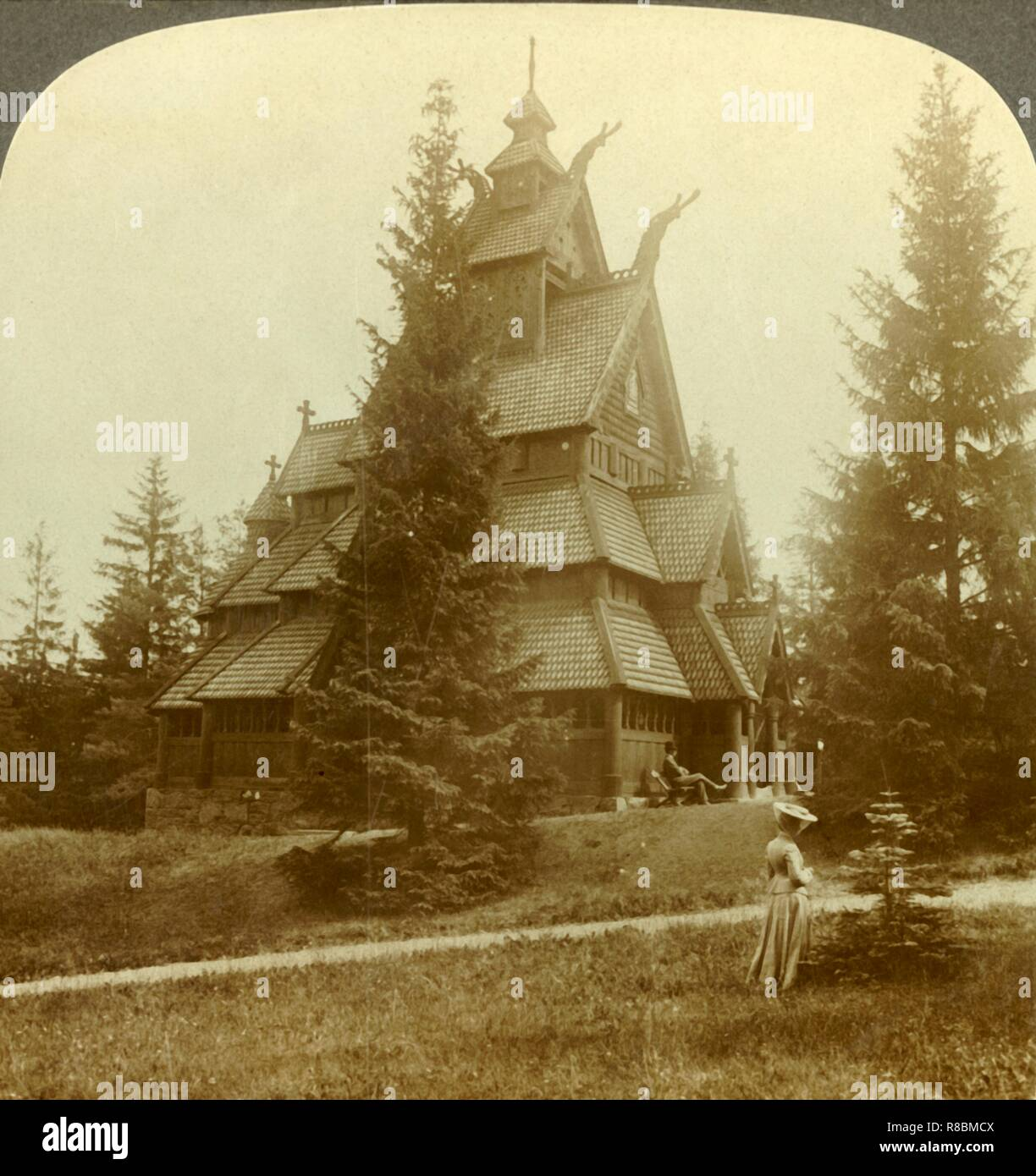 "'The old Church of Gol, a quaint 12th cent. Building at Osoarshal, Norway', c1905. From ""The Underwood Travel Library - Norway"". [Underwood & Underwood, London ] - Stock Image"