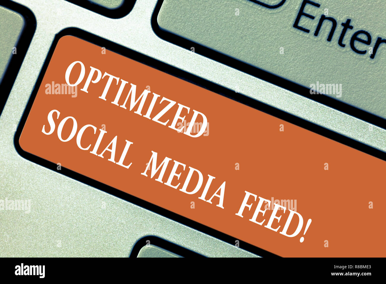 Writing note showing Optimized Social Media Feed. Business photo showcasing Search engine optimization digital feeds Keyboard key Intention to create  - Stock Image