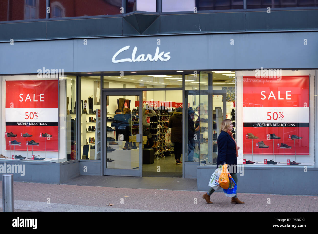 f4f1e431 Clarks shoe shop store front in High Street, Southend on Sea, Essex, UK