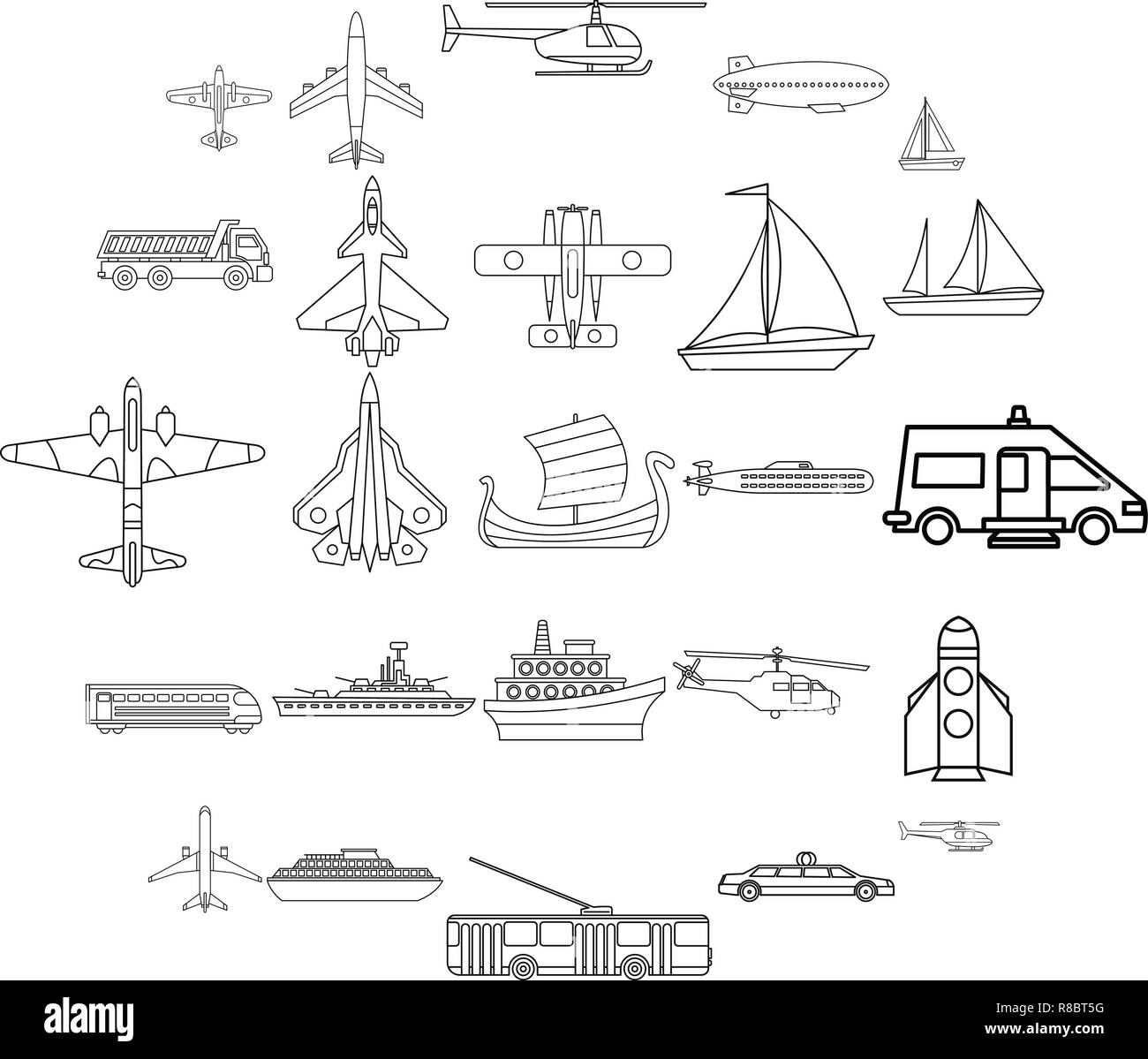 Civil transport icons set, outline style - Stock Image