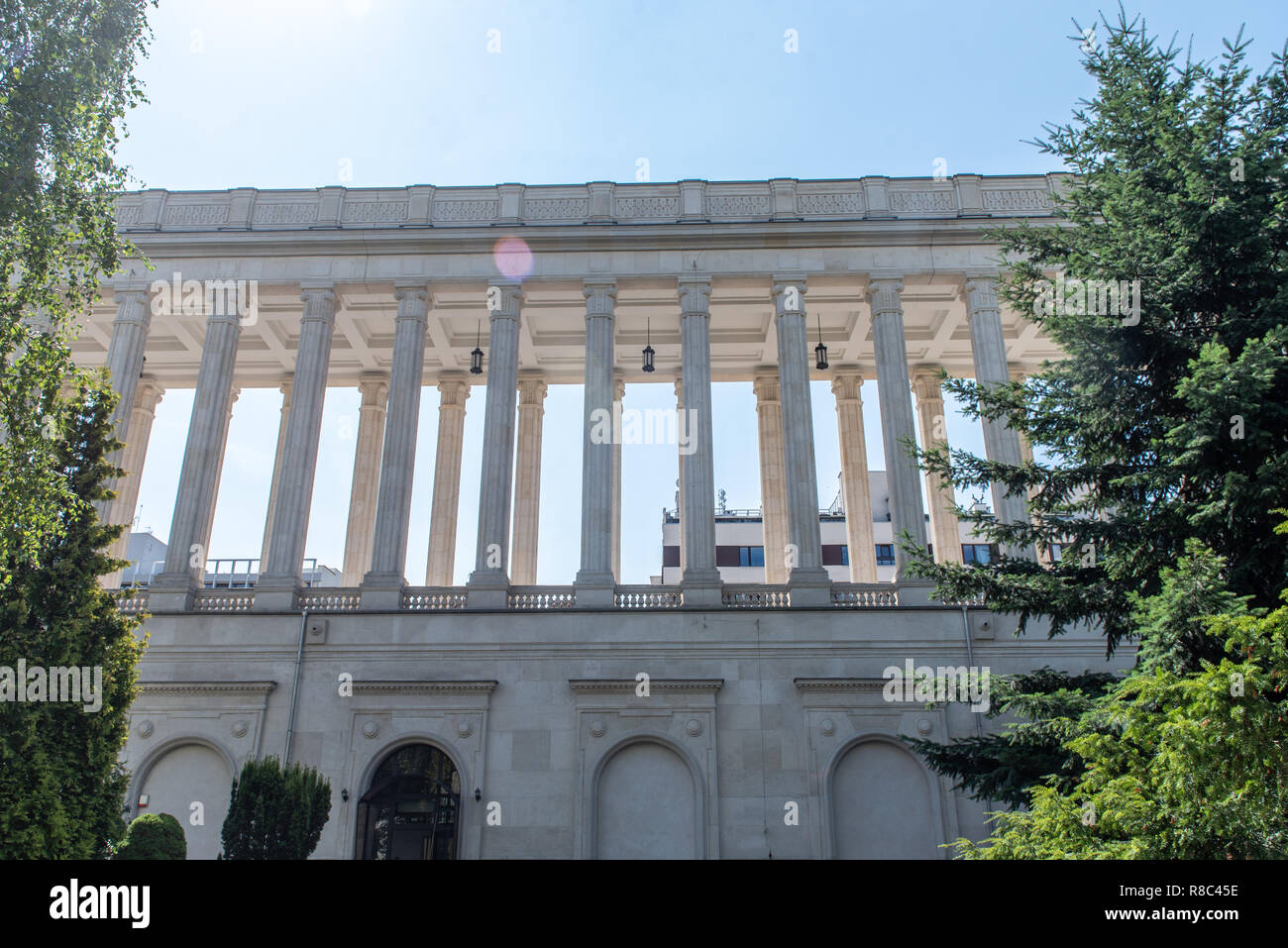 Greek inspired columns line the building of the Ministry of Agriculture and Rural Development, Warsaw, Masovian Voivodeship, Poland - Stock Image