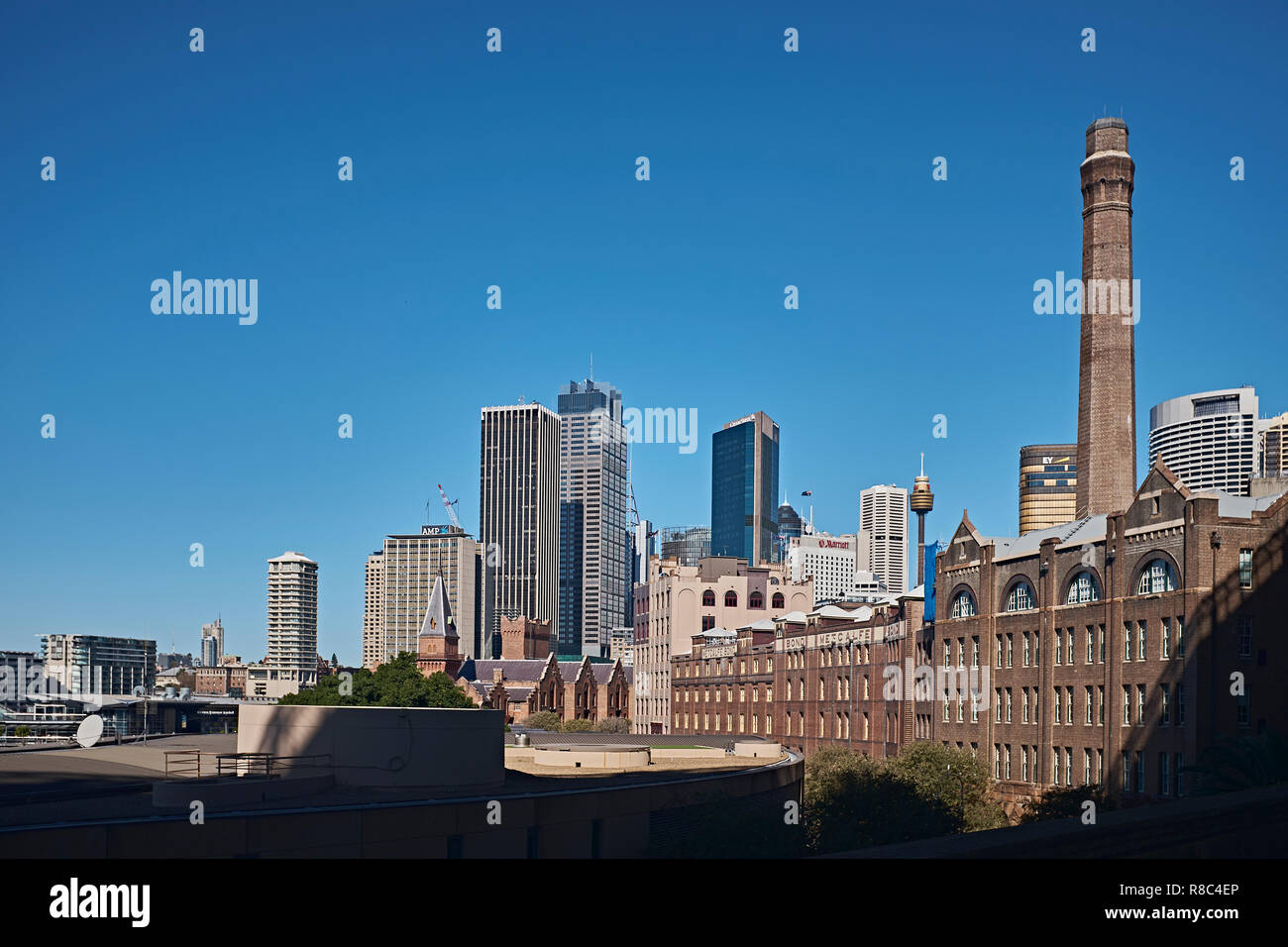 View of the Sydney skyline with the area known as The Rocks and the Sydney Central Bussiness District in the back ground, Sydney, NSW, Australia - Stock Image