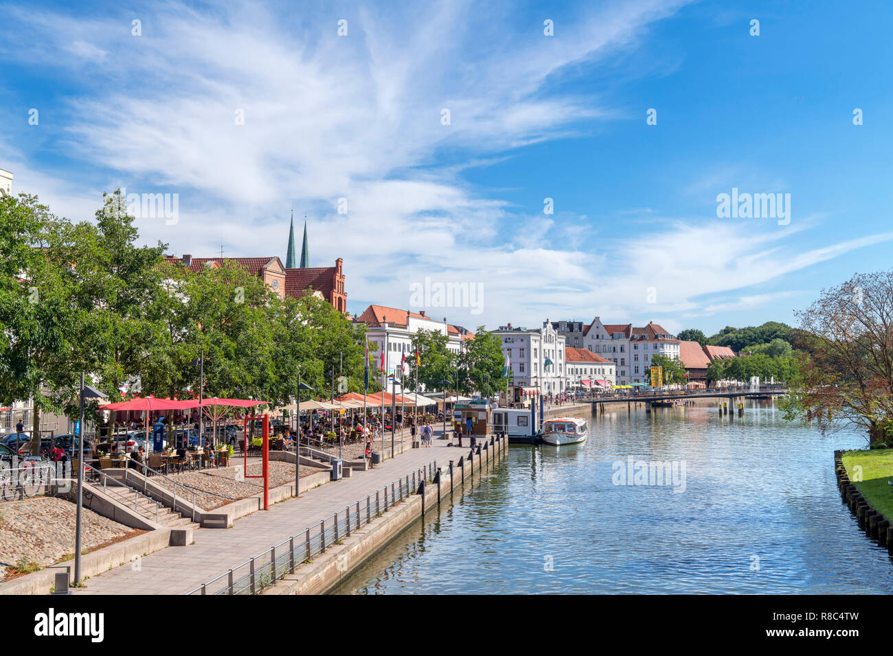 Cafes along the River Trave, An der Obertrave, Lubeck, Schleswig-Holstein, Germany - Stock Image