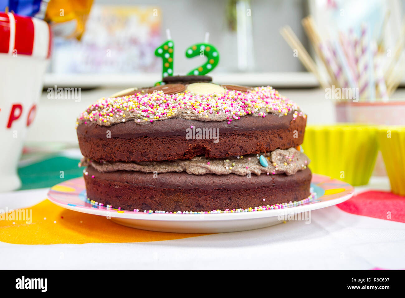 12th Chocolate Birthday Cake Age 12 Twelve Party Celebration Tween Oreo Homemade Icing Sprinkles Kids Concept