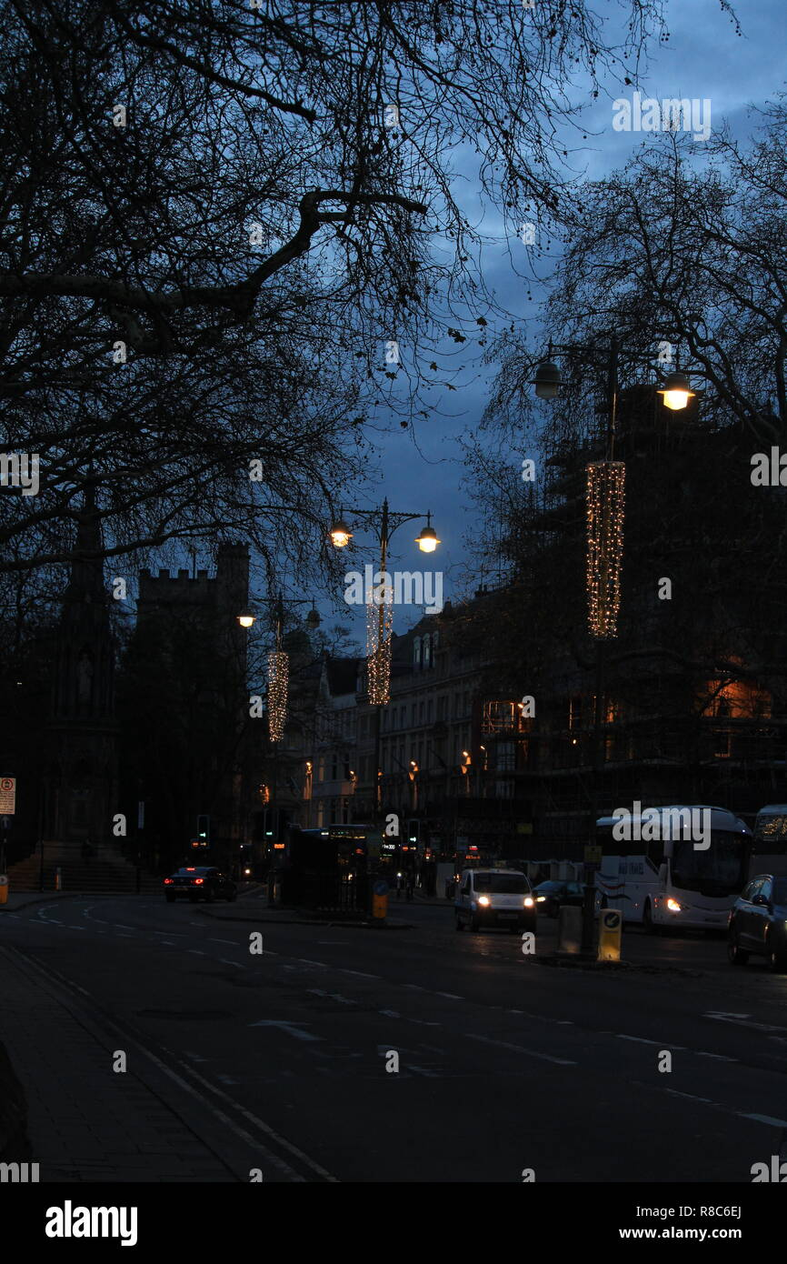 A view from the city high street at night Oxford, Oxfordshire, UK. - Stock Image