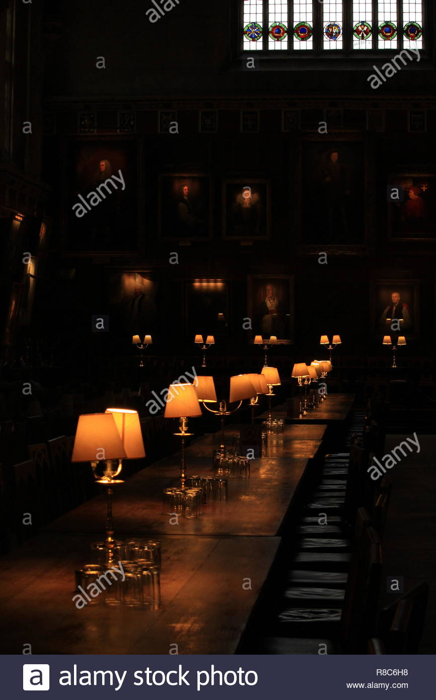 An angled shot within interior of Christchurch Hall, filming at Christchurch, Oxford University site, Oxford, UK. - Stock Image