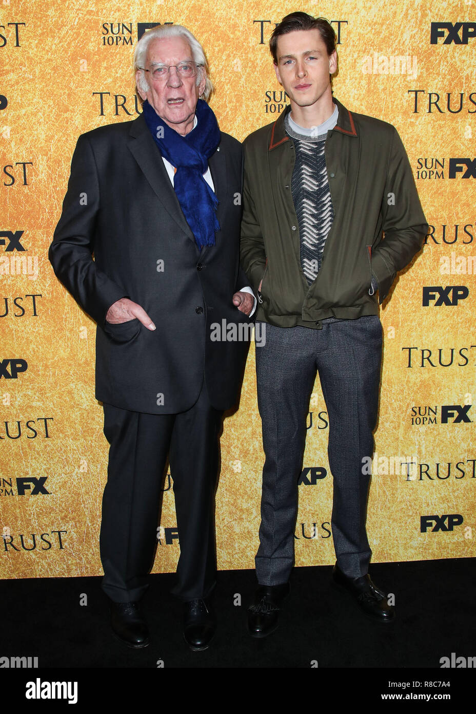 NORTH HOLLYWOOD, LOS ANGELES, CA, USA - MAY 11: Donald Sutherland, Harris Dickinson at the For Your Consideration Event For FX's 'Trust' held at the Saban Media Center at The Television Academy on May 11, 2018 in North Hollywood, Los Angeles, California, United States. (Photo by Xavier Collin/Image Press Agency) Stock Photo