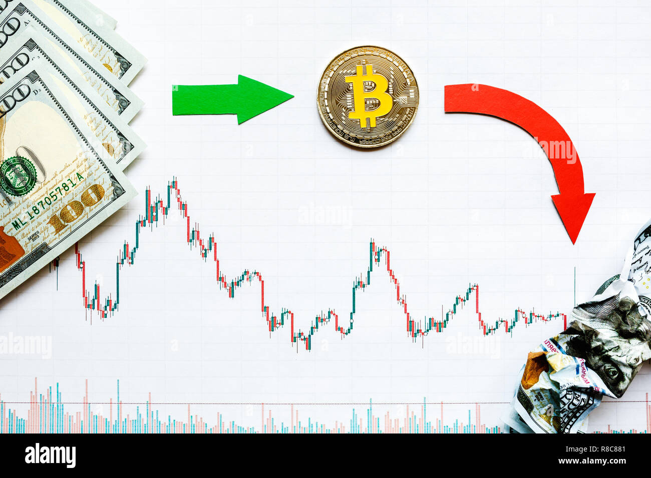 unprofitable investment of depreciation of virtual money bitcoin. Green red arrow, silver bitcoin and dollars go down on forex paper. Money turned to  - Stock Image